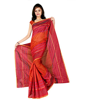 Indian E Fashion Red Poly Cotton Plaine Work With Brocade Blouse Sareeif5049 IF5049