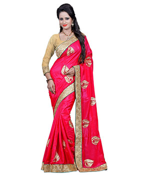Indian E Fashion Shimmer Chiffon Red Embroidery Designer Saree With Blousesr1008E SR1008E