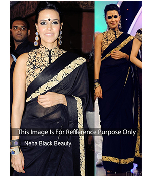 Neha Dhupia Blue Chiffon Bollywood Saree JOM28B320
