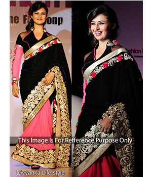 Divyanka Black And Pink Bollywood Saree JOM28B340