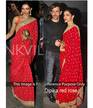 Dipika Padukone Red Georgette Bollywood Saree JOM28B405