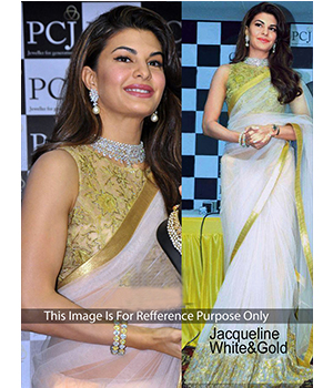 Jacqueline Whiteand Gold Net Bollywodd Replica Saree JOM28B462