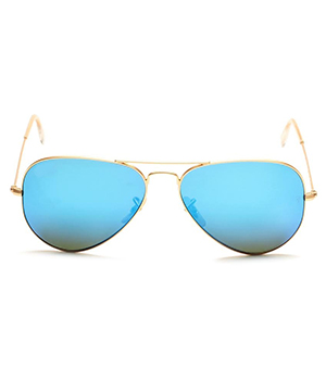 Superdeals Golden Frame And Blue Glass Aviator Sunglasses For Men And Women SD281
