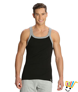 Jockey Zone Mens Vest US27 Black Grey