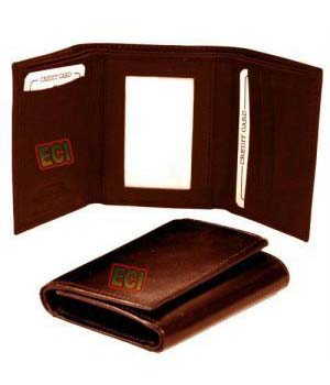 Superdeals Leather Gents Brown Purse Triple Fold Mens Wallet SD256