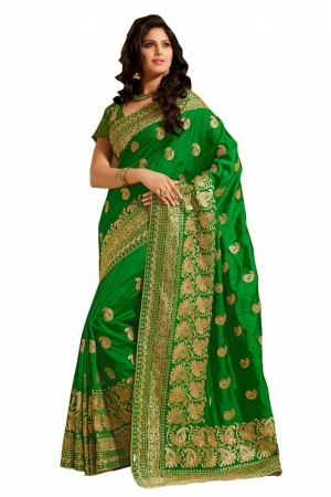 Look N Buy Green Embroidery Work Designer Saree 167-4001A