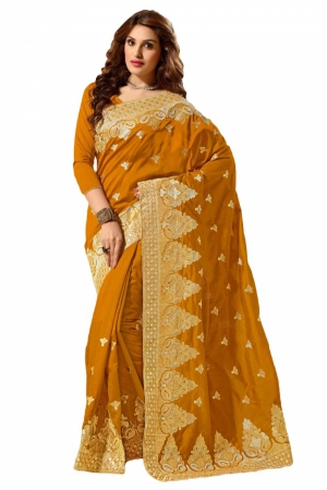 Look N Buy Yellow Embroidery Work Designer Saree 167-4002A
