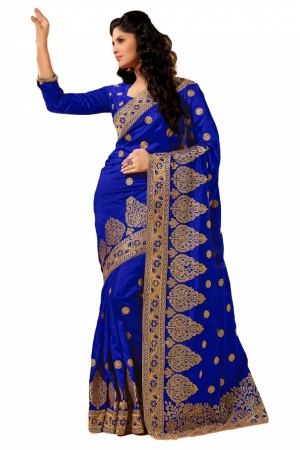 Look N Buy Blue Embroidery Work Designer Saree 167-4003A