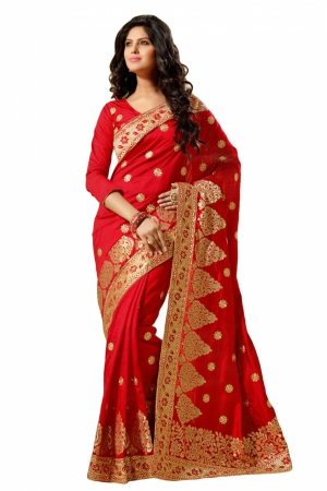Look N Buy Red Embroidery Work Designer Saree 167-4003B