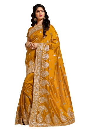 Look N Buy Yellow Embroidery Work Designer Saree 167-4005A