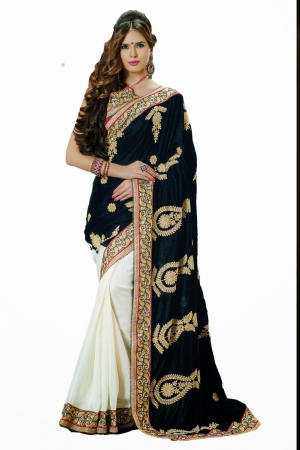 Look N Buy Black and White Embroidery Work Designer Saree 168-3026