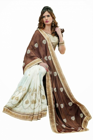 Look N Buy Brown and White Embroidery Work Designer Saree 168-3027