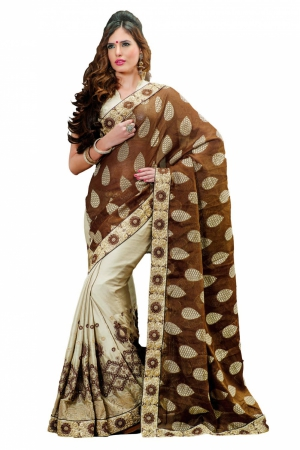 Look N Buy Brown and White Embroidery Work Designer Saree 168-3028