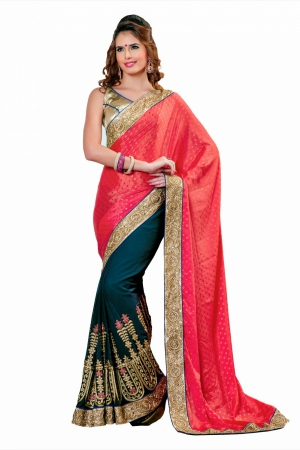 Look N Buy Pink and Black Embroidery Work Designer Saree 168-3032