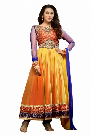 Look N Buy Yellow Embroidery Work Unstitched Dress Material 169-611