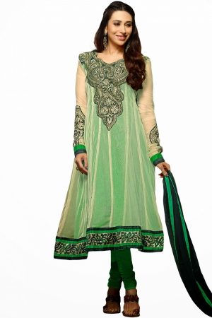 Look N Buy Green Embroidery Work Unstitched Dress Material 169-612