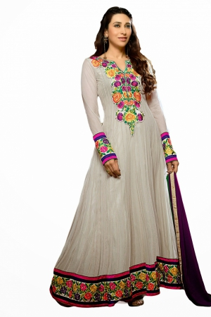Look N Buy White Embroidery Work Unstitched Dress Material 169-617