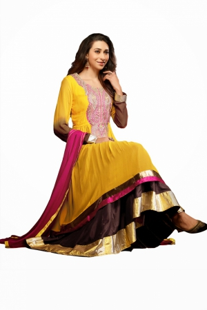 Look N Buy Yellow Embroidery Work Unstitched Dress Material 169-619
