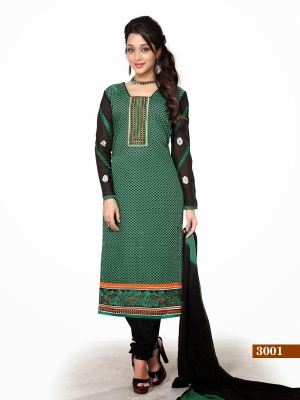 Look N Buy Green Printed Unstitched Dress Material 170-3001