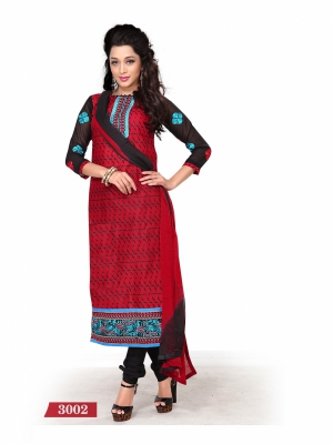 Look N Buy Red Printed Unstitched Dress Material 170-3002
