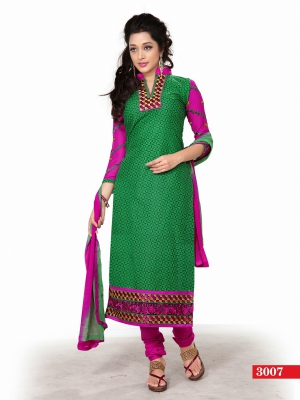 Look N Buy Green Printed Unstitched Dress Material 170-3007
