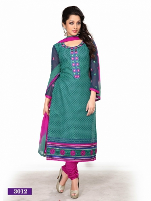 Look N Buy Multicolor Printed Unstitched Dress Material 170-3012