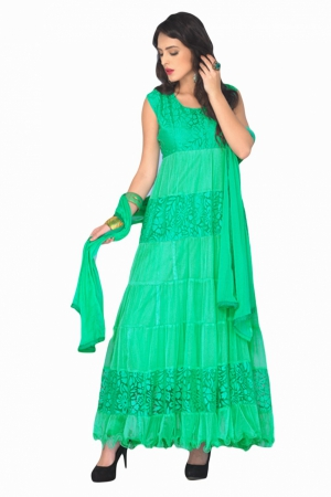 Look N Buy Green Plain Suit Unstitched Dress Material 173-1664