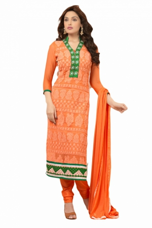 Look N Buy Orange Embroidery Work Unstitched Dress Material 174-1606