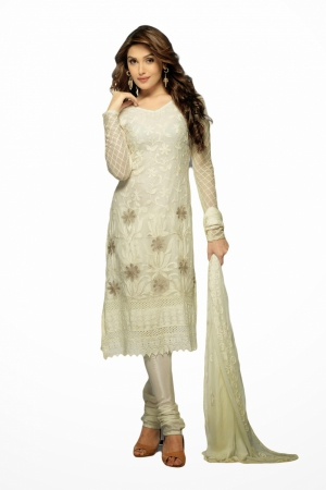 Look N Buy White Embroidery Work Unstitched Dress Material 175-1631