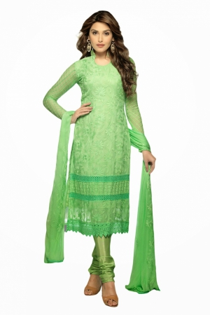 Look N Buy Green Embroidery Work Unstitched Dress Material 175-1632