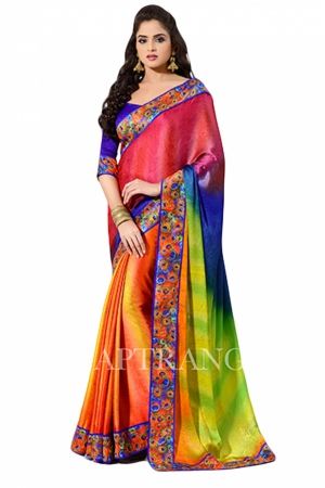 Look N Buy Multicolor Embroidery Work Designer Saree 178-202