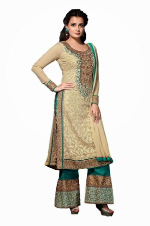 Look N Buy Beige Embroidery Work Unstitched Dress Material 179-17002