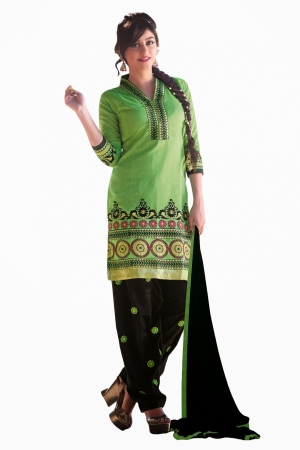 Look N Buy Green Embroidery Work Unstitched Dress Material 181-7005