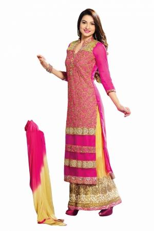 Look N Buy pink Embroidery Work Unstitched Dress Material 182-3014