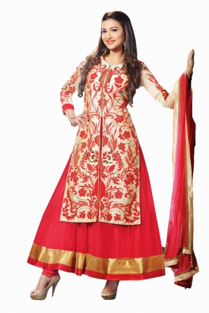 Look N Buy golden and red Embroidery Work Unstitched Dress Material 182-3017