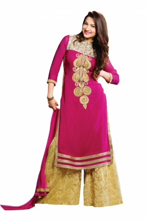 Look N Buy pink Embroidery Work Unstitched Dress Material 182-3019