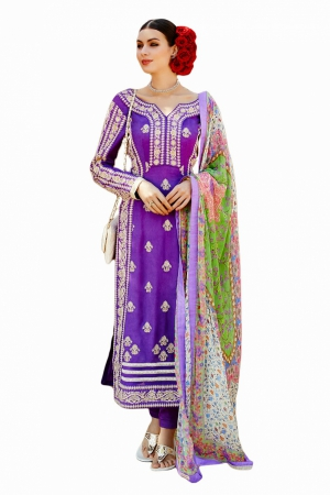 Look N Buy Purple Embroidery Work Unstitched Dress Material 183-5001
