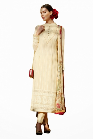 Look N Buy White Embroidery Work Unstitched Dress Material 183-5002