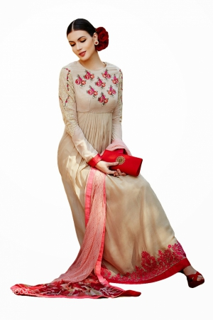 Look N Buy Pink and Beige Embroidery Work Unstitched Dress Material 183-5003