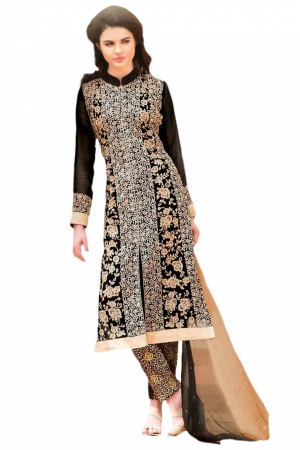 Look N Buy Black Embroidery Work Unstitched Dress Material 184-301