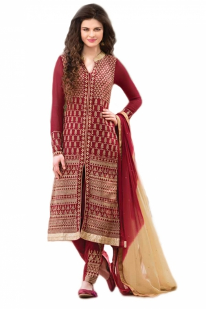 Look N Buy Red Embroidery Work Unstitched Dress Material 184-305