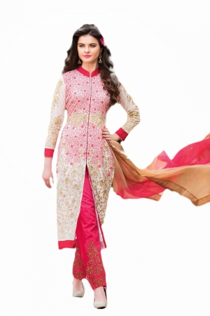 Look N Buy Pink Embroidery Work Unstitched Dress Material 184-307