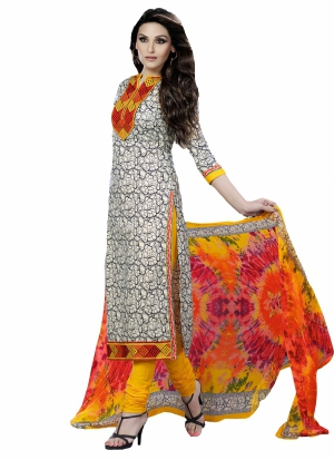 Look N Buy Multicolor Embroidery Work Unstitched Dress Material 185-101A