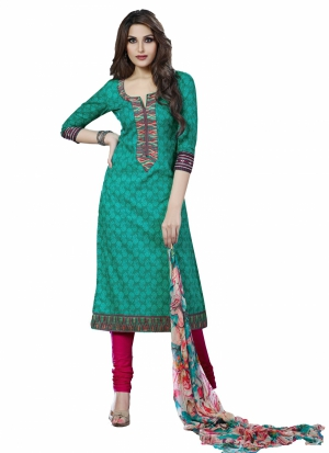 Look N Buy Red Embroidery Work Unstitched Dress Material 185-103A