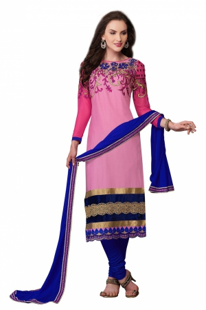 Look N Buy Pink Embroidery Work Unstitched Dress Material 186-902