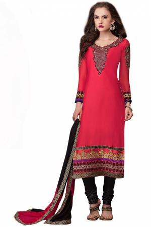 Look N Buy Red Embroidery Work Unstitched Dress Material 186-906