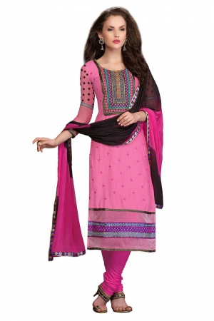 Look N Buy Pink Embroidery Work Unstitched Dress Material 186-911