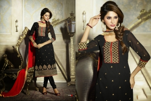 Look N Buy BLack Embroidery Work Unstitched Dress Material 187-2105