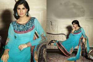 Look N Buy Blue Embroidery Work Unstitched Dress Material 187-2106