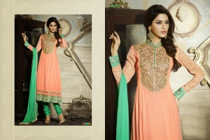 Look N Buy Orange Embroidery Work Unstitched Dress Material 187-2107